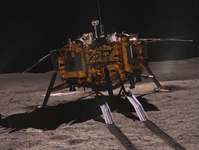 The Chang'e 4 lander, as seen by the Yutu 2 rover.