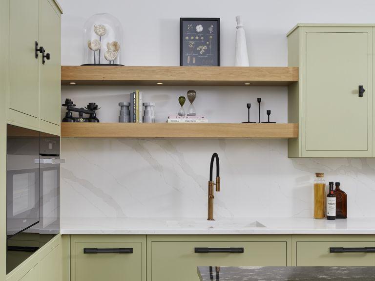 Harvey Jones sage green kitchen marble splashback