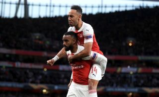 Alexadre Lacazette (bottom) and Pierre-Emerick Aubameyang have forged a fine understanding at Arsenal.