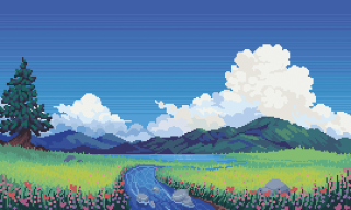 Pixel art: river leading to a range of mountains