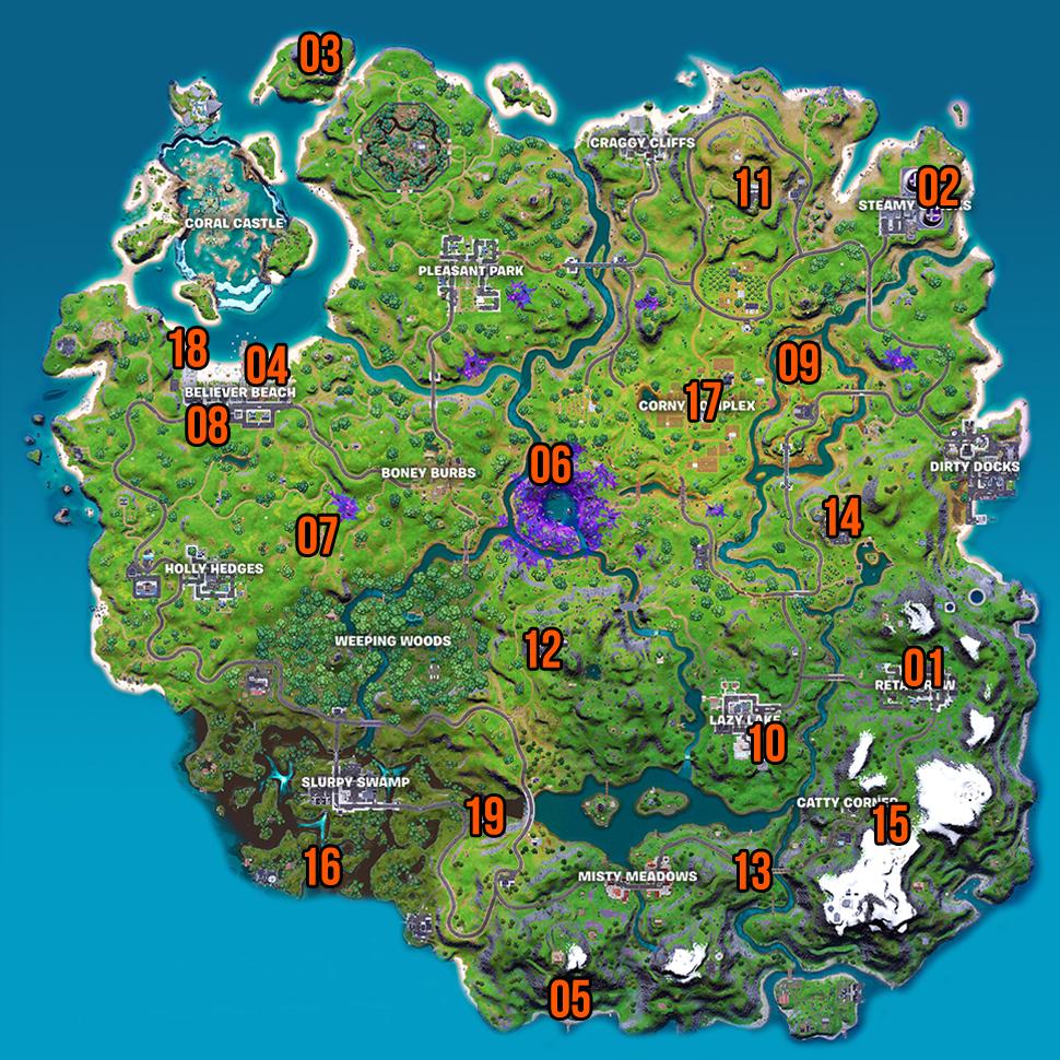 Карта локаций персонажей Fortnite, сезон 7