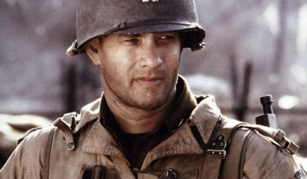 Saving Private Ryan Tom Hanks gives a steely look in his World War II Army uniform