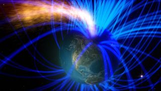 On the day side of Earth, magnetic reconnection funnels material and energy from the sun into Earth's magnetic environment.