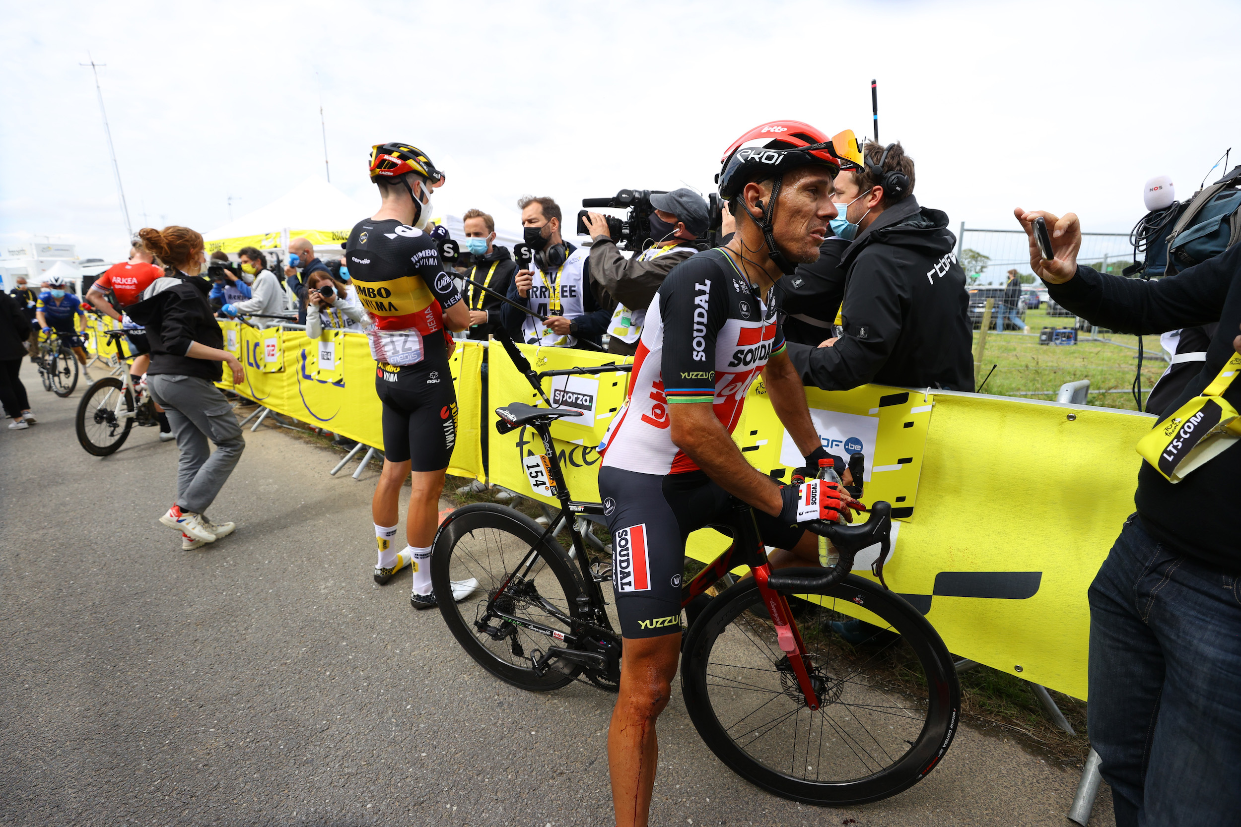 Philippe Gilbert talks to the press before the opening stage of the Tour de France 2021