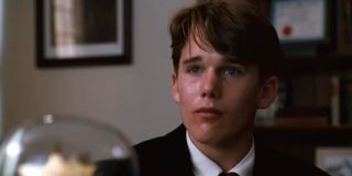 Todd Anderson getting emotional after the administration finds out about the secret society in Dead Poet Society