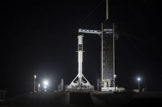 A SpaceX Falcon 9 rocket carrying the Cargo Dragon CRS-22 mission for the International Space Station is seen at Launch Complex 39A ahead of its June 2, 2021 launch. A similar Dragon cargo ship will launch on the CRS-23 mission on Aug. 28, 2021.