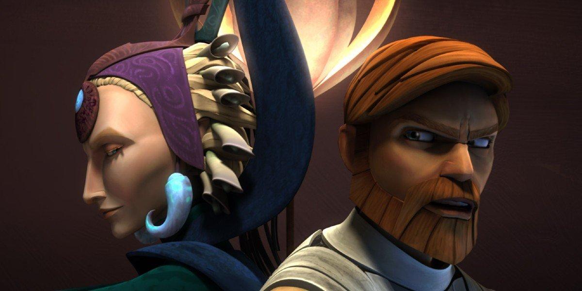 Satine and Obi-Wan in Star Wars: The Clone Wars
