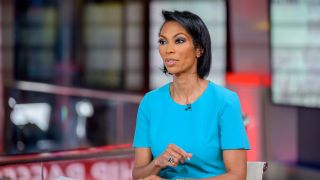 """Harris Faulkner on set of """"Outnumbered Overtime"""" at Fox News Channel Studios on March 9, 2020 in New York City."""