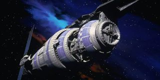 "Babylon 5 was 8 kilometers long and located next to a strategically important wormhole-like '""jump gate."""