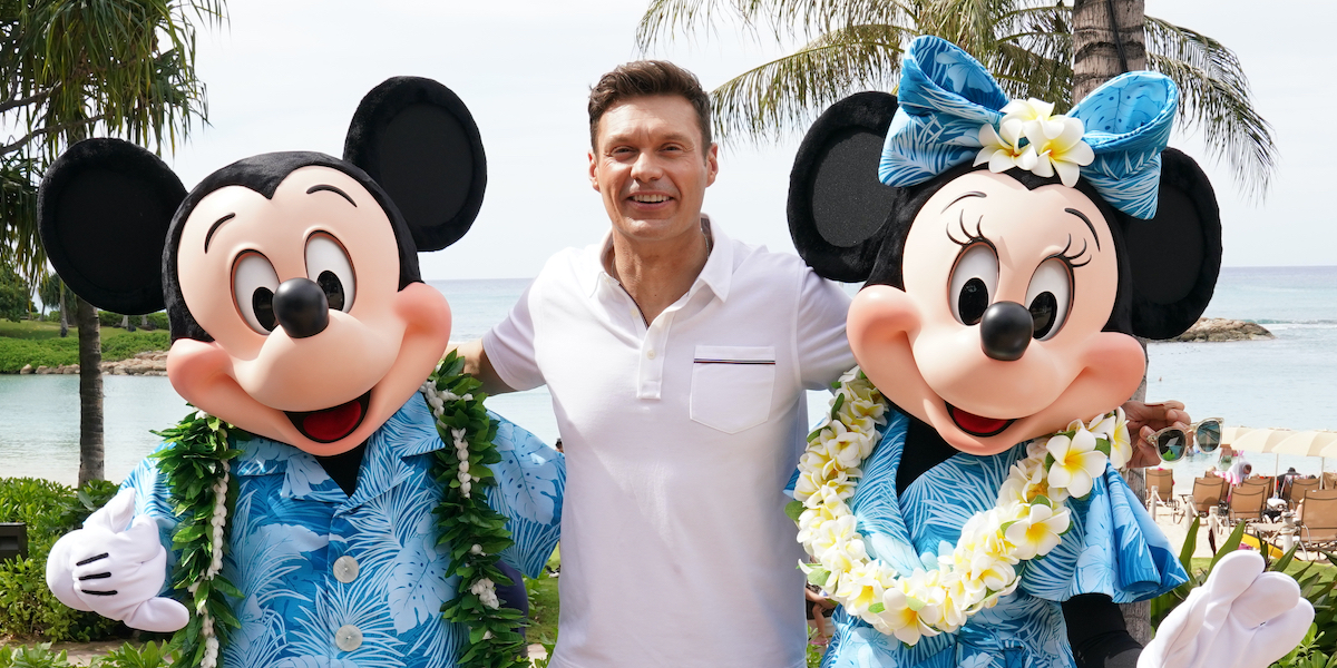 ryan seacrest with minnie and mickey mouse