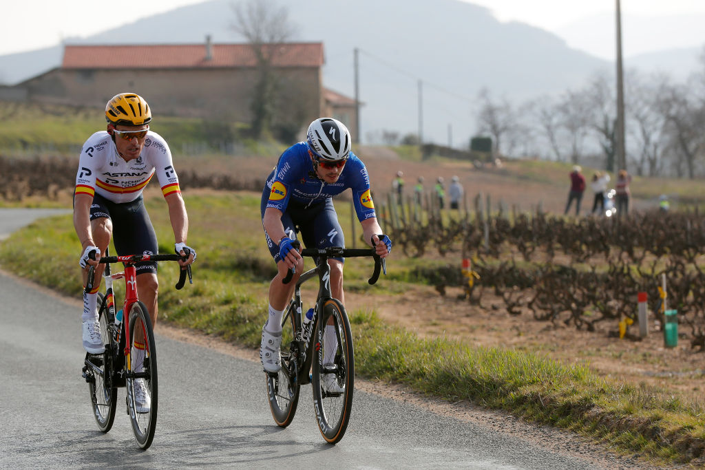 CHIROUBLES FRANCE MARCH 10 Remi Cavagna of France and Team Deceuninck QuickStep Luis Leon Sanchez Gil of Spain and Team Astana Premier Tech during the 79th Paris Nice 2021 Stage 4 a 1875km stage from ChalonSurSane to Chiroubles 702m ParisNice on March 10 2021 in Chiroubles France Photo by Bas CzerwinskiGetty Images