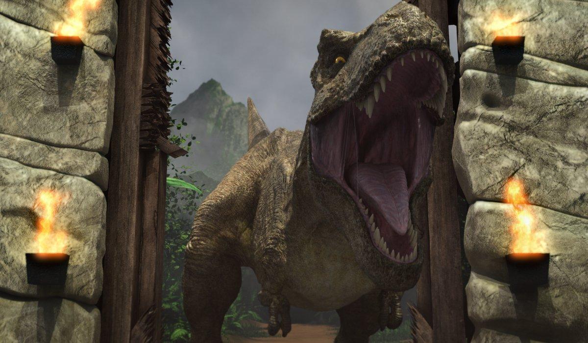 Jurassic World: Camp Cretaceous the T-Rex stomps through the gates