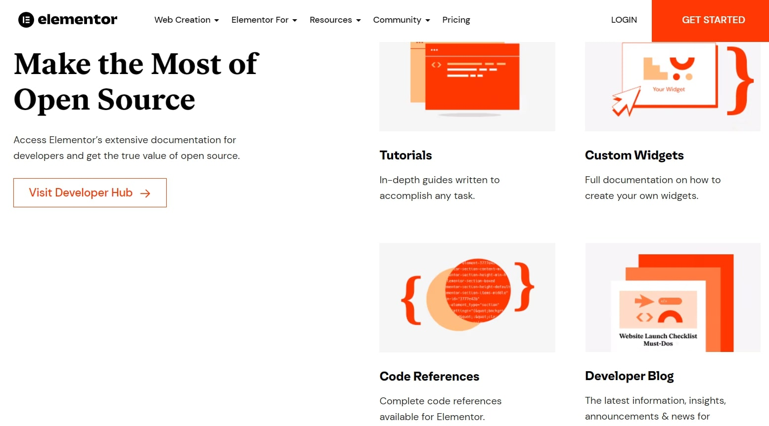 Elementor's webpage discussing its advanced user tools