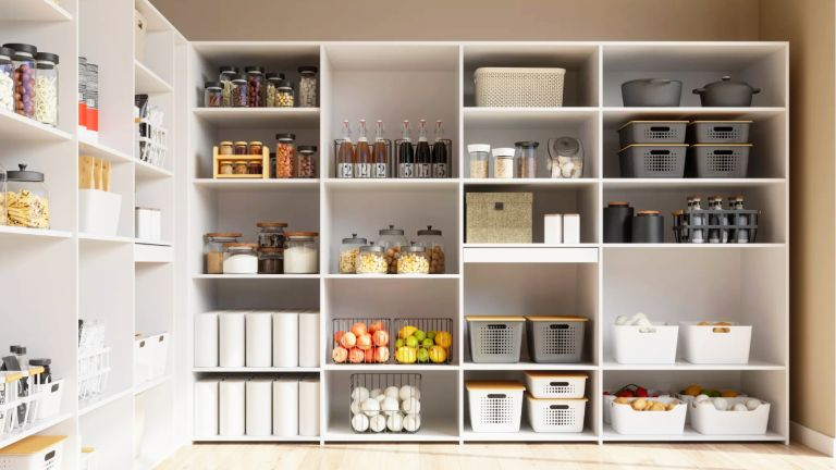an image of an organized pantry with storage and produce