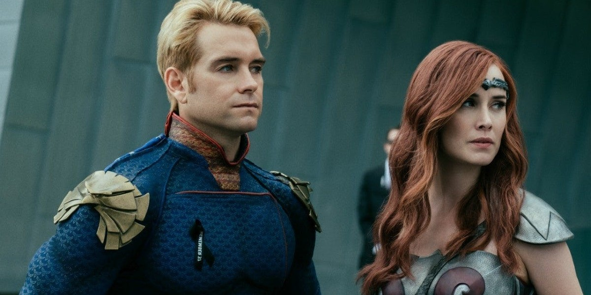 Antony Starr as Homelander and  Dominique McElligott as Queen Maeve in The Boys