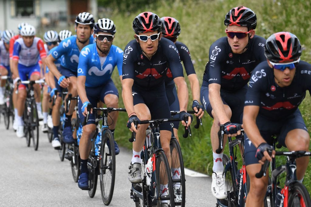 Team Ineos Geraint Thomas of Great Britain rides in the pack during the seventh stage of the 73rd edition of the Criterium du Dauphine cycling race a 171km between SaintMartinLeVinoux and La Plagne on June 5 2021 Photo by Alain JOCARD AFP Photo by ALAIN JOCARDAFP via Getty Images