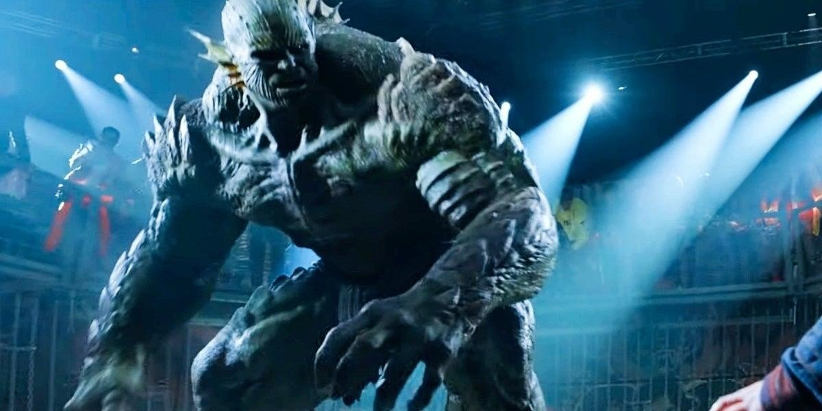 The Abomination takes on Wong (Benedict Wong) in Shang-Chi and the Legend of the Ten Rings (2021)