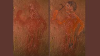 """Using a new technique to restore this Etruscan painting (left) from the 2,500 year-old """"Tomb of the Monkey,"""" researchers revealed what it really looked like so long ago (right)."""