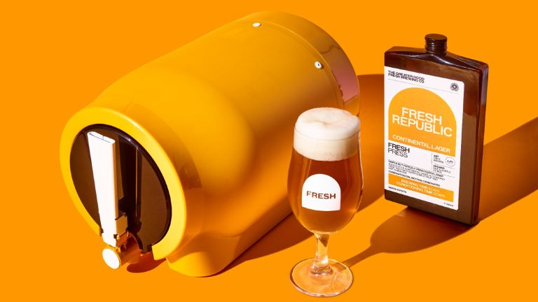 The Pinter, an at home brewing kit with glass of beer