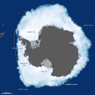 Antarctic sea ice maximum seen from space