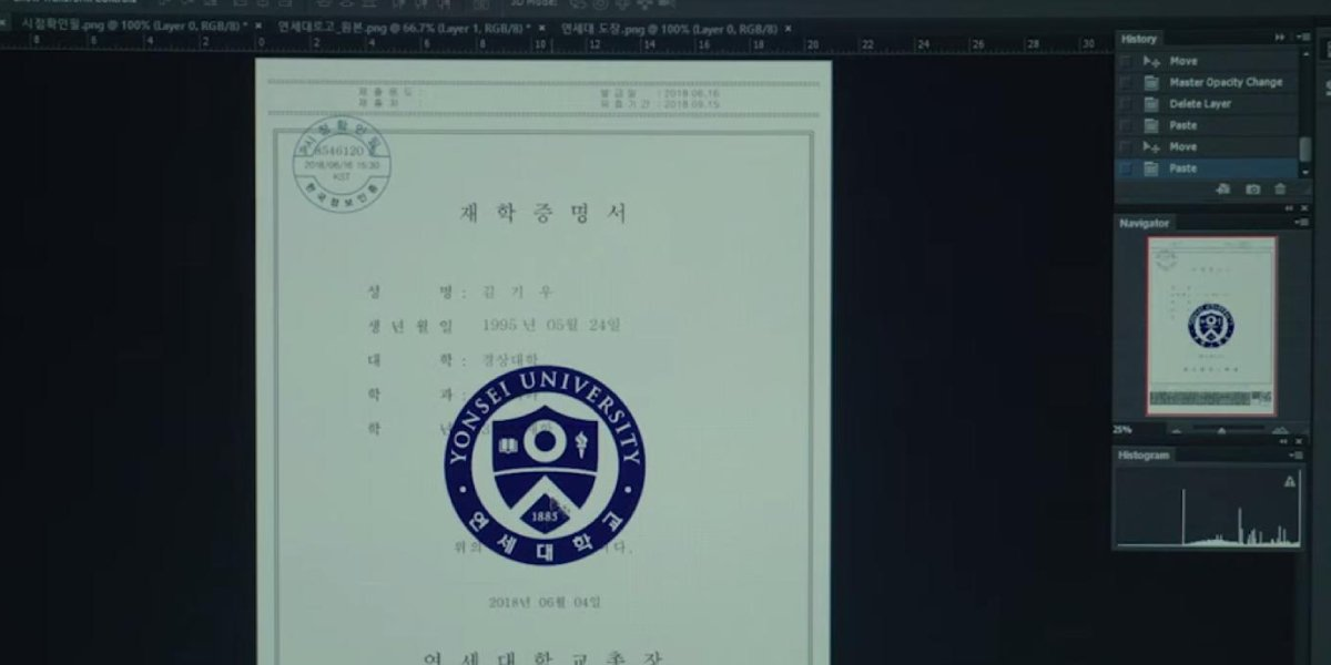 The fake Yonsei University certificate from Parasite