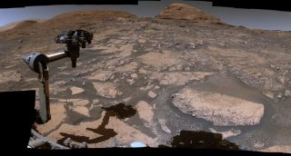 A portion of a panorama that was created by the Curiosity mission team using 129 images captured by the Mars rover's Mastcam imager on July 3, 2021.