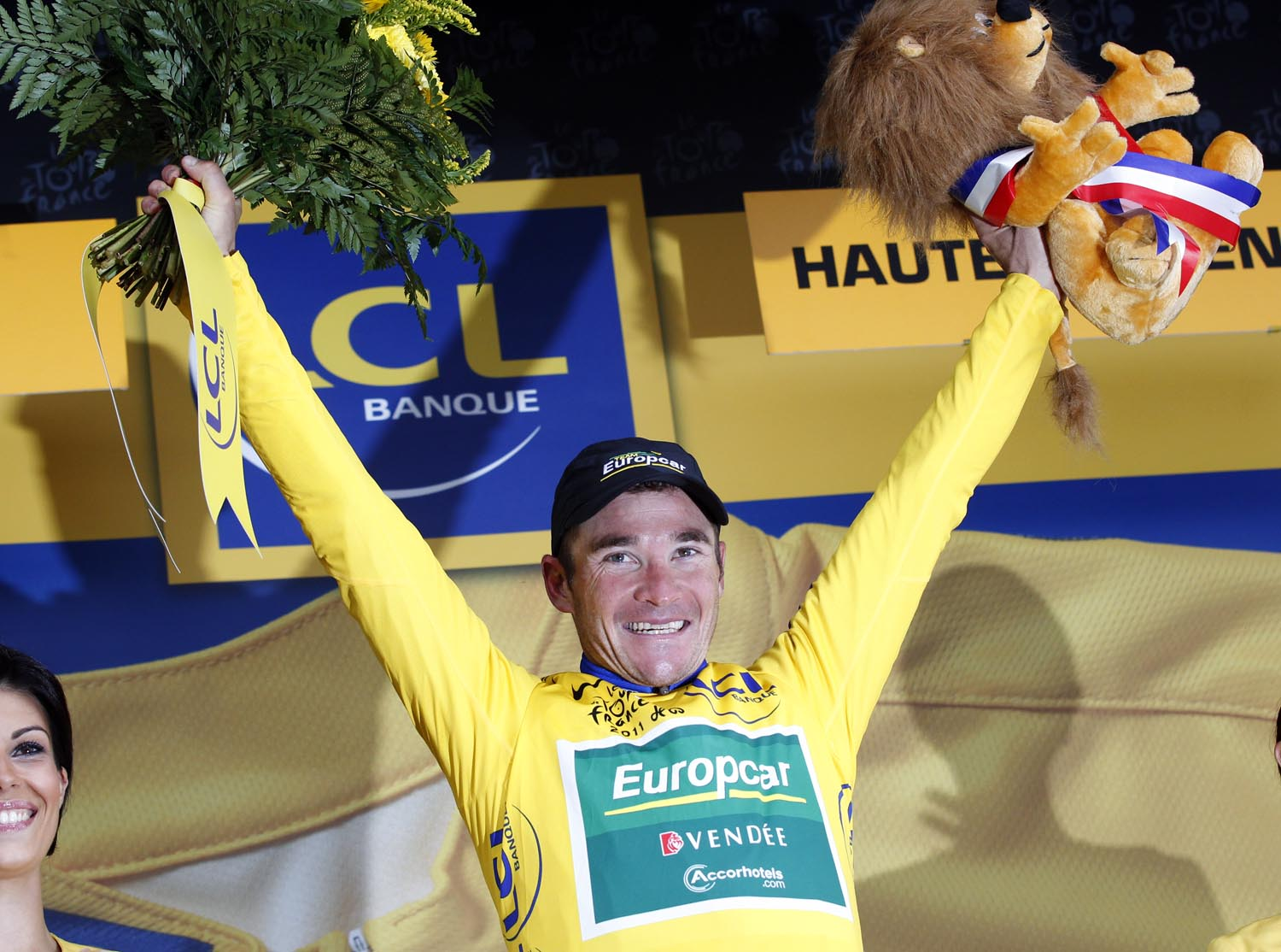 Thomas Voeckler on podium, Tour de France 2011, stage 12