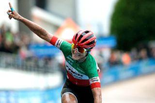 Elisa Longo Borghini celebrates her third place and Lizzie Deignan's victory in Paris-Roubaix