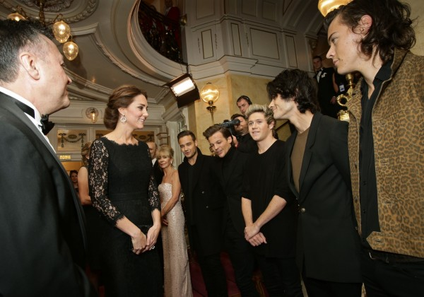 Kate Middleton meeting One Direction at the Royal Variety Performance