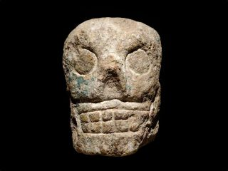 A decorative Maya stone skull.