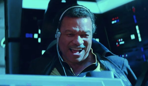 Star Wars: The Rise of Skywalker Lando laughing at the controls of the Millennium Falcon