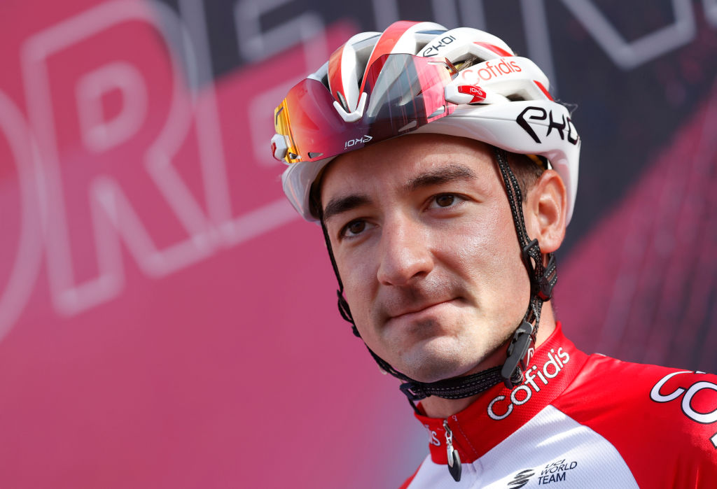 Team Cofidis rider Italys Elia Viviani looks on prior the start of the 10th stage of the Giro dItalia 2020 cycling race a 177kilometer route between Lanciano and Tortoreto on October 13 2020 Photo by Luca Bettini AFP Photo by LUCA BETTINIAFP via Getty Images