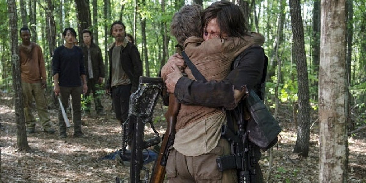 Daryl and Carol hug after Terminus in The Walking Dead.