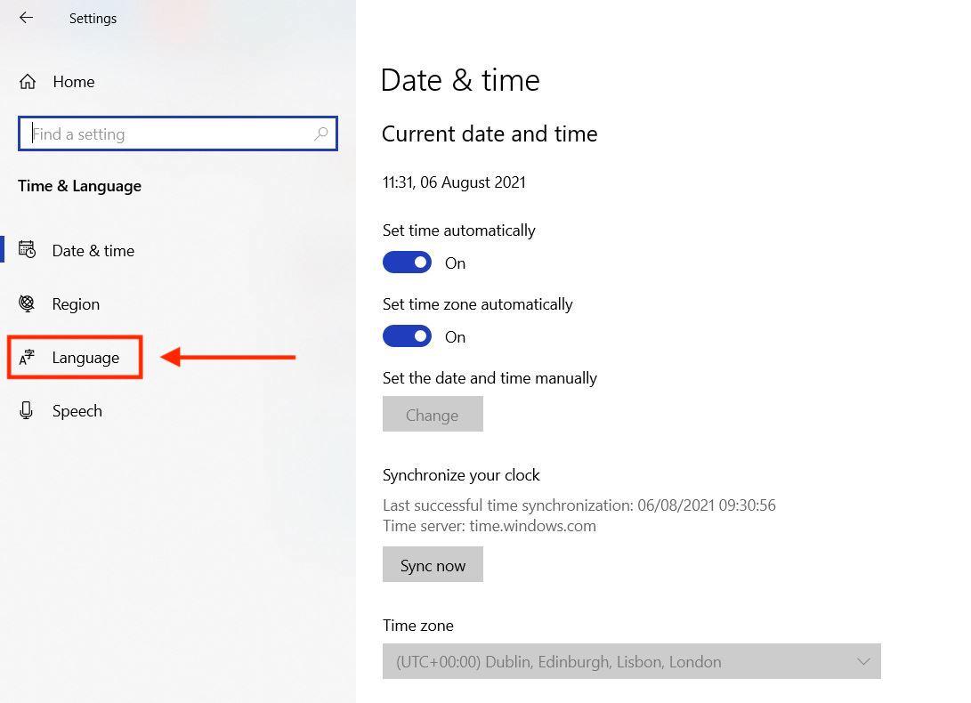 How to change keyboard language in Windows - language
