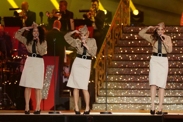 Rebecca Ferguson, Pixie Lott and Laura Wright during the VE Day 70: A Party to Remember concert on Horse Guards Parade