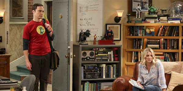 Kaley Cuoco in The Big Bang Theory living room.