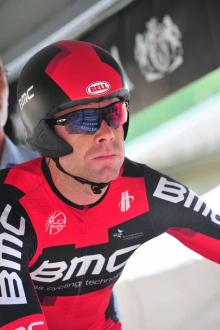 A determined Cadel Evans (BMC) kicks off his Dauphine.