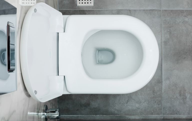 clean bright white toilet overhead shot