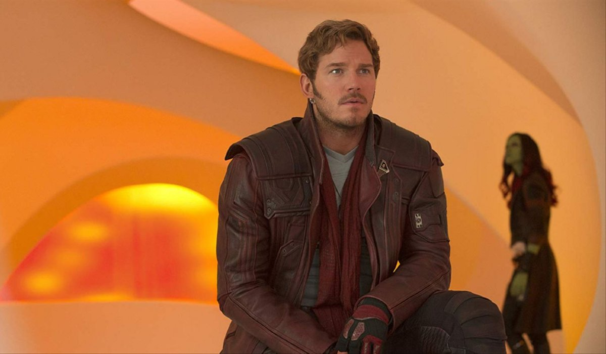 Guardians of the Galaxy Vol. 3 Chris Pratt sitting in an orange room