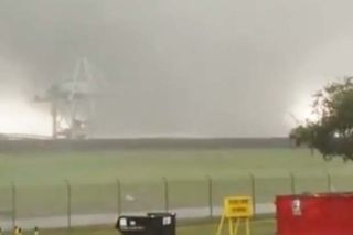A tornado impacted NASA's Michoud Assembly Facility in New Orleans, Louisiana on Feb. 7, 2017. This image, from a still from a NASA video, shows the tornado near a crane structure.