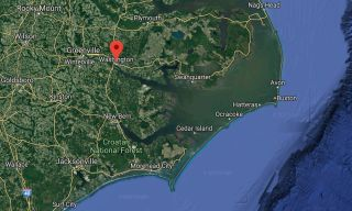 The town of Washington, North Carolina is about 30 miles up the Pamlico River from the coast.