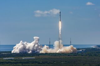 A SpaceX Falcon 9 rocket makes its sixth flight to launch a fleet of Starlink internet satellites into orbit from Cape Canaveral Air Force Station, Florida on Aug. 18, 2020. The same rocket booster will launch another Starlink mission on Nov. 23, 2020.