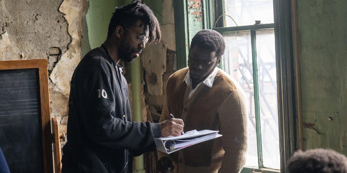 Shaka King with Daniel Kaluuya on the Judas and the Black Messiah set