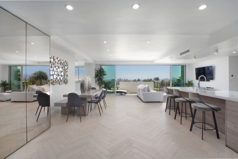 contemporary open plan living space in West Hollywood apartment