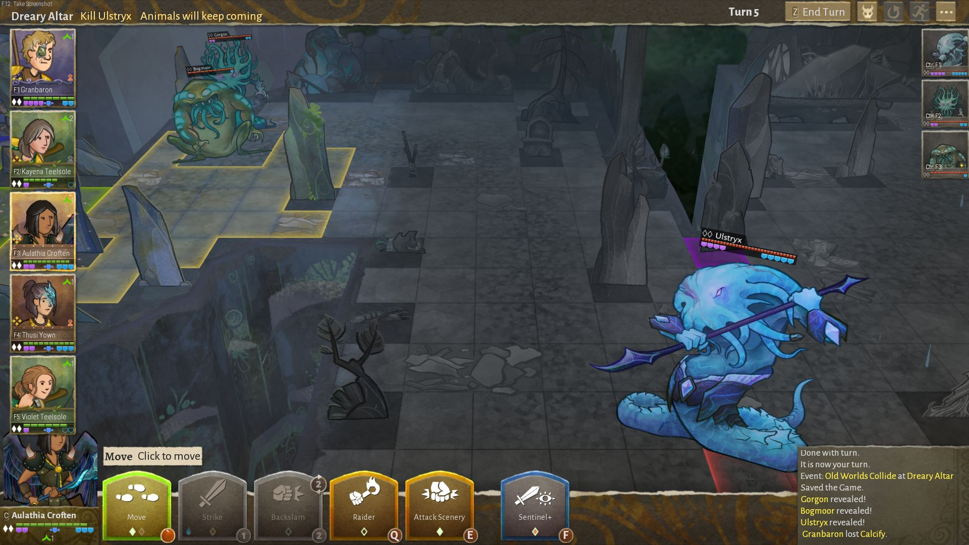 Amphibious monsters prepare for turn-based combat on a grid