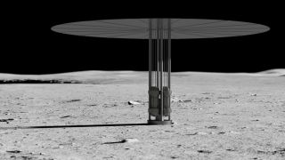 Artist's concept of new fission power system on the lunar surface