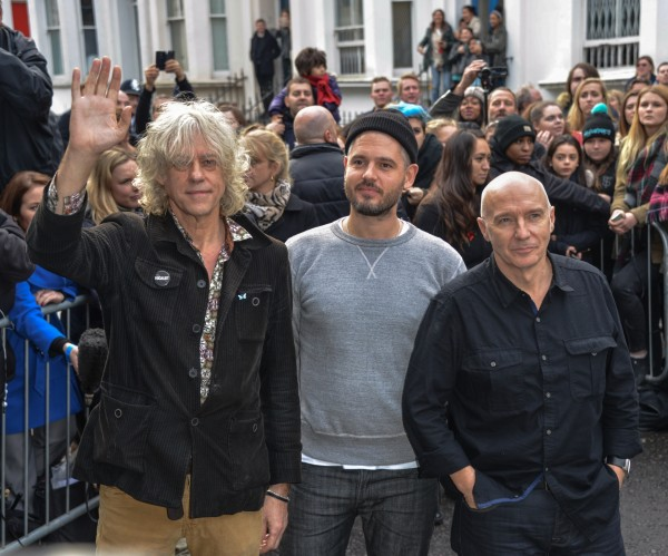 Bob Geldof, Paul Epworth and Midge Ure arriving at the recording of Band Aid 30