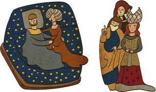 Illustration of a couple being witnessed as they consummate their marriage.