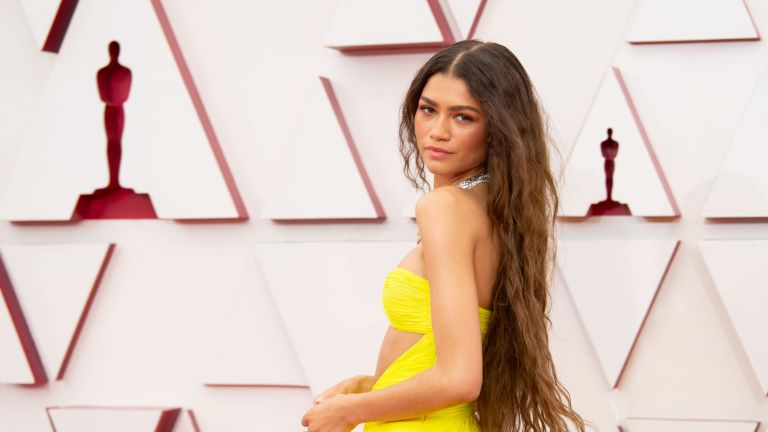 In this handout photo provided by A.M.P.A.S., Zendaya attends the 93rd Annual Academy Awards at Union Station on April 25, 2021 in Los Angeles, California.