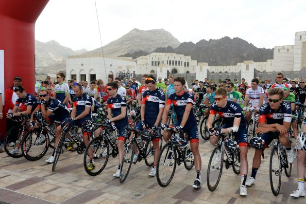 IAM Cycling pay tribute to Kristof Goddaert at the start of the 2014 Tour of Oman